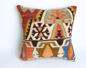 VINTAGE,Turks Handmade Kilim Pillow Case,Vegatables Dyes,At Least 80 Years Old - 16x16