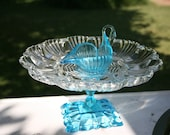 Beautiful  Vintage Glass repursposed Deviled Egg stand . centerpiece