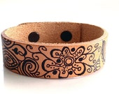 Leather Cuff Bracelet with One of a Kind Abstract Drawing in Black