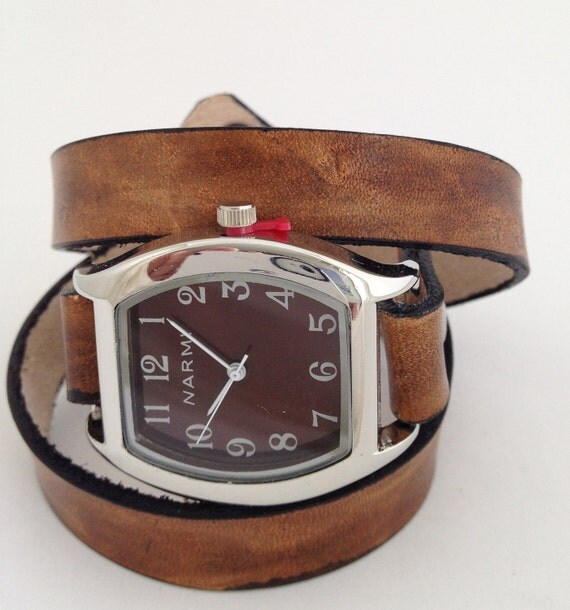 Leather 3-Wrap Watchband in Two Tone Distressed Brown and Black - Made to Order - Leave Me Your Wrist Measurement