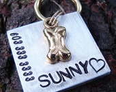 Stamped Pet Tag, Bone Charm, Square Aluminum Pet ID, Custom ID