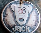 Pet Tag, Dog Tag, Etched Brass Pet ID Tag, Cartoon Jack Tag