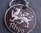 Dog Tag, Pet Tag, Etched Dog or Cat Tag, Custom Pet ID, Welsh Dragon