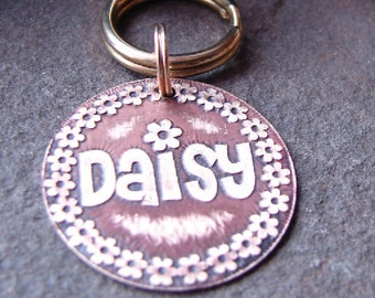 Pet Tag, Custom Dog Tag, Custom ID Tag, Flowers