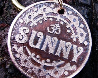 Dog Tag, Pet Tag, Om Aum Custom Pet ID Tag for Dogs or Cats
