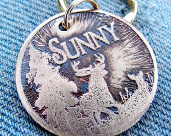 Pet ID Tag, Etched Brass, Personalized, Deer, Trees