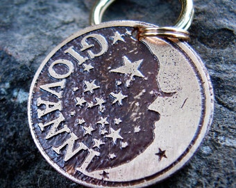 Dog Tag, Pet Tag, Pet ID, Moon and Stars Pet Tag for Dogs or Cats - BRASS