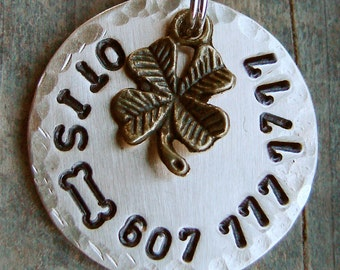 Stamped Pet Tag, Pet ID Tag with Four Leaf Clover and Choice of Stamped Design - BRASS