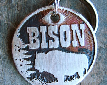 Dog Tag, Custom Pet Tag, Bison Etched Tag, Buffalo