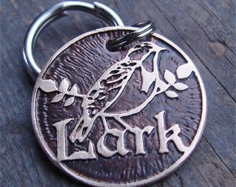 Custom Pet Tag, Meadowlark Etched Brass