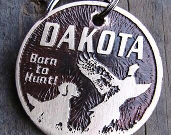 Pet ID Tag, Hunting Dog, Dog and Pheasant Dog Tag - 1.25 inch