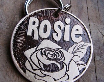 Dog Tag , Cat Tag , Etched Brass Pet ID Tag , Rose Pet Tag