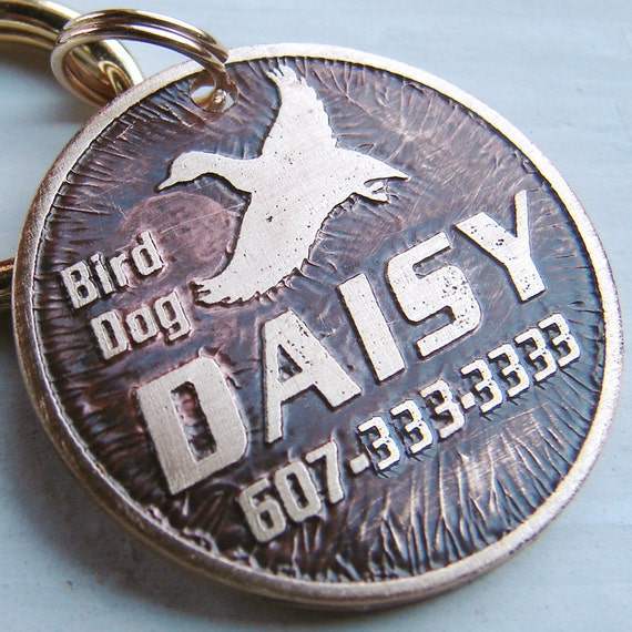 Dog Tag  /  Pet Tag  /  Etched Brass Pet Tag  /  Custom Dog ID Tag  /  Hunting Dog  /  Hunter /  Duck Hunting Tag for Dogs /  Duck Bird Dog