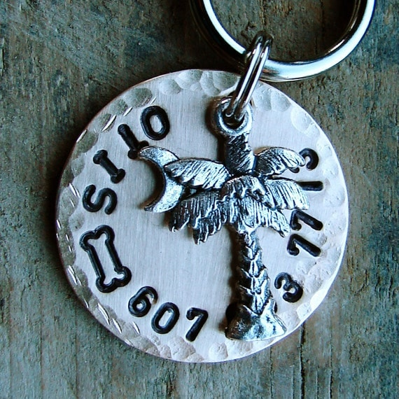 Dog Tag, Pet Tag with Palm Tree Charm. Your Choice of Stamped Design