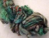 Art Yarn  Hand spun Hand Dyed Single Ply Green Jeans