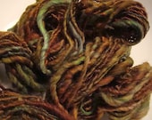 Art Yarn  Hand spun Hand Dyed Single Ply Peat Moss
