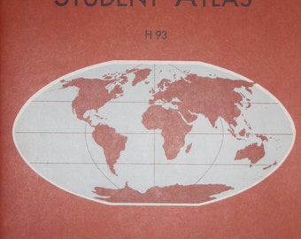 VINTAGE ATLAS 1949/1961 Denoyer's Student Atlas w/ Map Reading Suggestions, H93' by L. Philip Denoyer, Colorful fold-out maps, topographies.