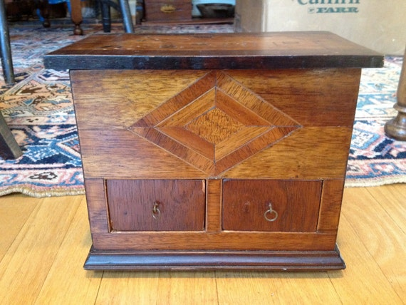 Unique Early 20th Century American Antique Folk Art Wooden Storage Box w/ inlay depicting Cabin, Diamond