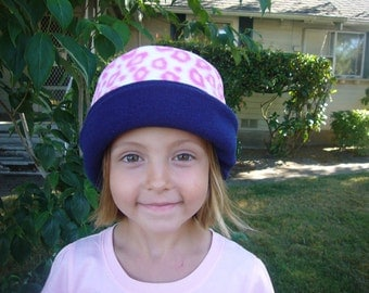 Child Fleece Hat  -  Reversible - Fits ages two thru six - PINK LEOPARD