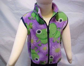 Child  Fleece Vest -   PURPLE FROG Print  -  Sizes from  6 months to Size 6