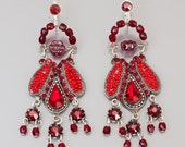 Deep red earrings - Alpaca based red earrings with Swarovski crystals and beads - hand-made by Adaya Jewelry