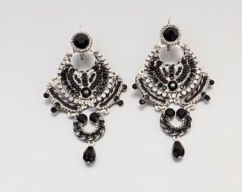 Lace Style Black Earrings - Alpaca based square lace style black earrings with Swarovski crystals and beads - hand-made by Adaya Jewelry
