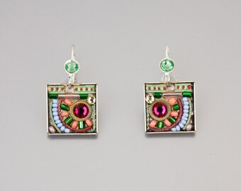 Pastel Shaded Earrings - Silver coated brass square earrings with Swarovski crystals and beads - hand-made by Adaya Jewelry