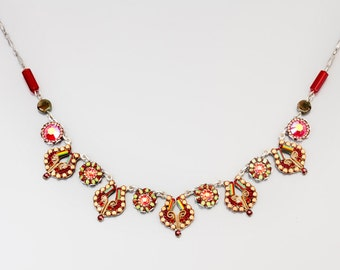 Antique red necklace, Alpaca based antique style necklace, Swarovski crystals and beads, handmade by Adaya Jewelry