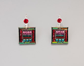 Square colorful earrings - Silver coated brass base colorful earrings with Swarovski crystals and beads - hand-made by Adaya Jewelry