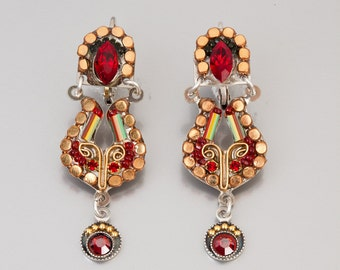 Two piece antique red earrings - silver plated alpaca & brass metal earrings with Swarovski crystals and beads - hand-made by Adaya Jewelry
