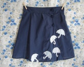 Handmade navy high-waisted skirt with applique umbrellas: size UK 10 waist 29""