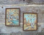 Vintage paint by numbers pair, poplar trees, birches, aspen, stone bridge, fall landscape paintings, retro, seasonal decor