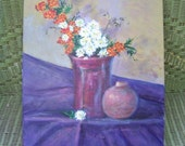 RESERVED for Karin Still life, flowers, original oil painting, mums, chrysanthemums, asters, lavender, mauve, orange, white, unsigned