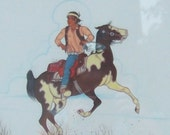 Navajo boy on a pinto pony, native American art, horse, warrior, B Yazz, watercolor, original, museum quality, award winning, listed artist