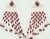 Vintage Earrings,Beaded Earrings,Brick Stitch Earrings,White Pink Earrings,Seed Bead Earrings,Vintage Beaded Earrings
