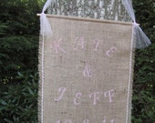 Burlap Wedding Sign Banner Rustic Personalized custom Natural Green Eco Tulle Outdoor Pendant Sign Pink Date Decoration