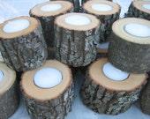 Rustic Wedding Decor Log Tealights