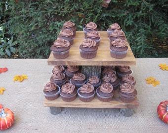 Rustic Cupcake Stand, Rustic Wedding, Log Cupcake Stand, Tree Cupcake Stand, Wood Cupcake Stand, 2 Tier Cupcake Stand, Square Cupcake Stand