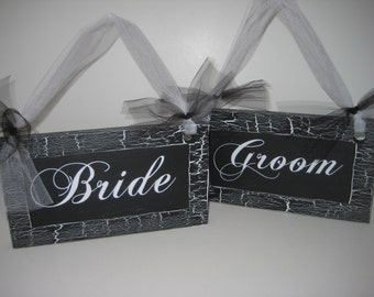 Wedding Chair Signs, Bride and Groom Signs, Mr and Mrs Signs, Wedding Signs, Wood Wedding Signs, Chair Signs, Black Chair Signs