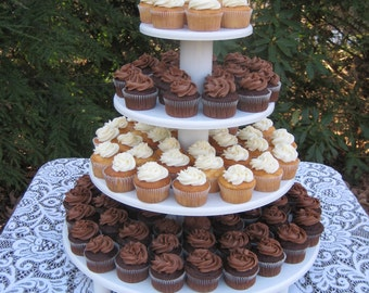Cupcake Stand, Wedding Cupcake Stand, Round Cupcake Stand, Wood Cupcake Stand, White Cupcake Stand, 4 Tier Cupcake Stand