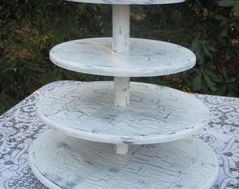Shabby Chic Oval Cupcake Stand Wedding Decor 4 Tier