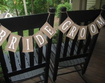 Bride and Groom Signs, Chair Signs, Burlap Chair Signs, Burlap Wedding, Rustic Wedding, Wedding Chair Signs, Burlap Chair Banners
