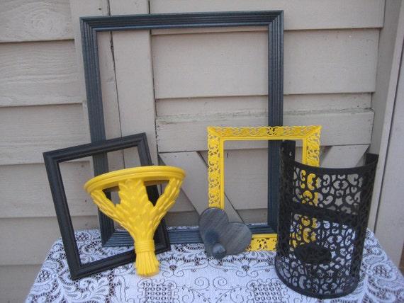 Shabby Chic Frames Homco Black Gray Yellow