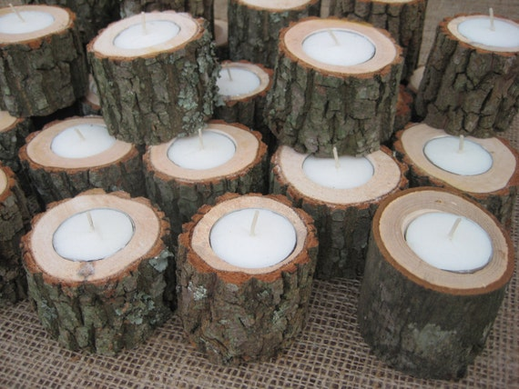 Reserved for lizcupples Rustic Wedding Decor Candleholders Log for Tealights