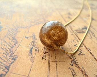 Brown and Gold Sagenitic Quartz Necklace