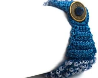 Blue Knitted Bead Bracelet