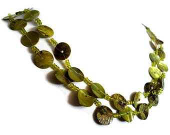 Extra Long Green Apple Shell Pearl Necklace