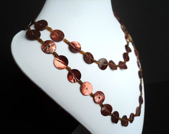 Extra Long Brown Shell Necklace