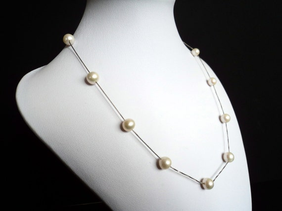 White Freshwater Pearls on Sterling Silver Necklace