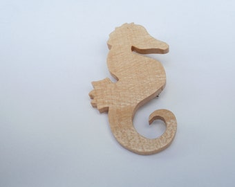 seahorse  brooch wood sycamore scroll saw